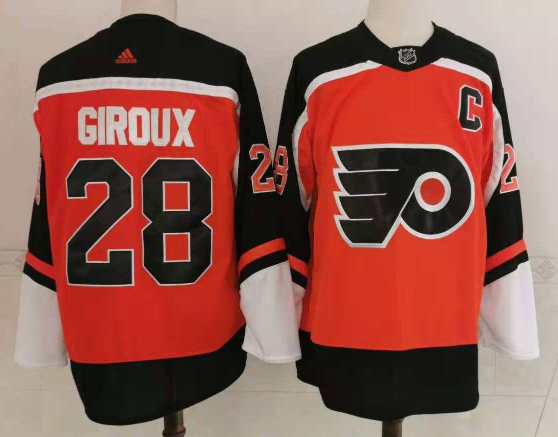 Men's Philadelphia Flyers #28 Claude Giroux Orange with Black 2021 Reverse Retro Alternate Adidas Stitched NHL Jersey