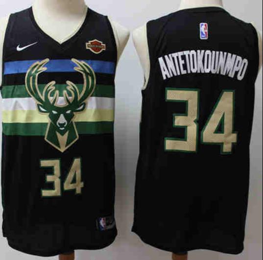 Men's Milwaukee Bucks #34 Giannis Antetokounmpo Black Nike Swingman Stitched NBA Jersey