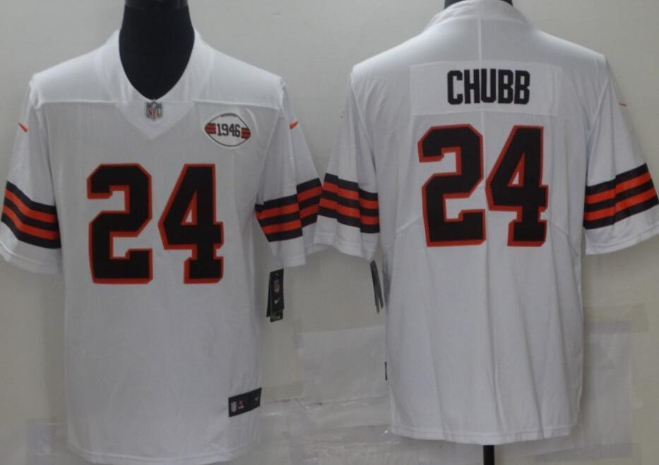 Men's Cleveland Browns #24 Nick Chubb White 1946 Collection Alternate Vapor Untouchable Limited Stitched NFL Nike Jersey