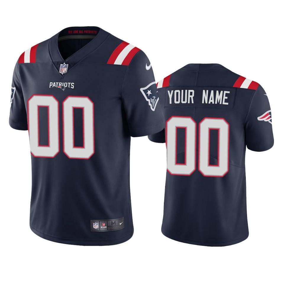 Men's New England Patriots Custom Navy Blue 2020 NEW Vapor Untouchable Stitched NFL Nike Limited Jersey