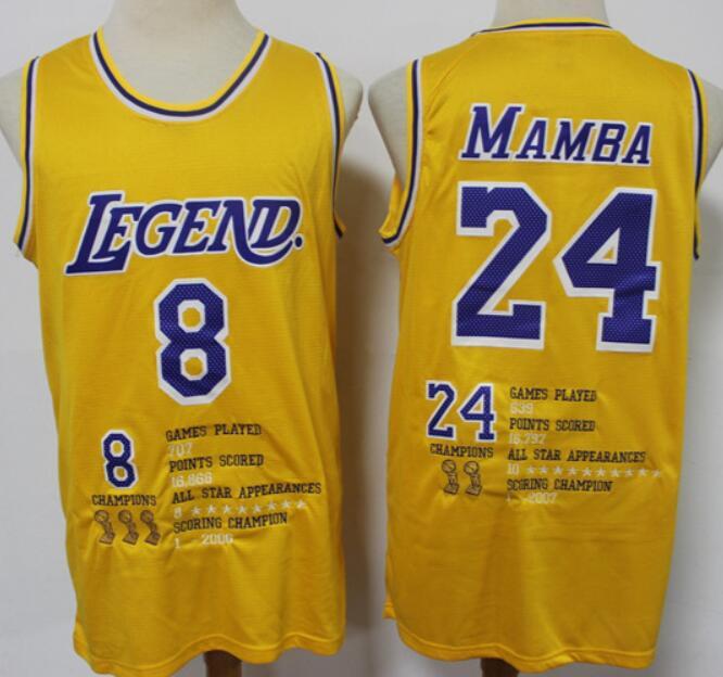 Men's Los Angeles Lakers #8 #24 Kobe Bryant Mamba Yellow Commerative Nike Swingman Fashion Jersey