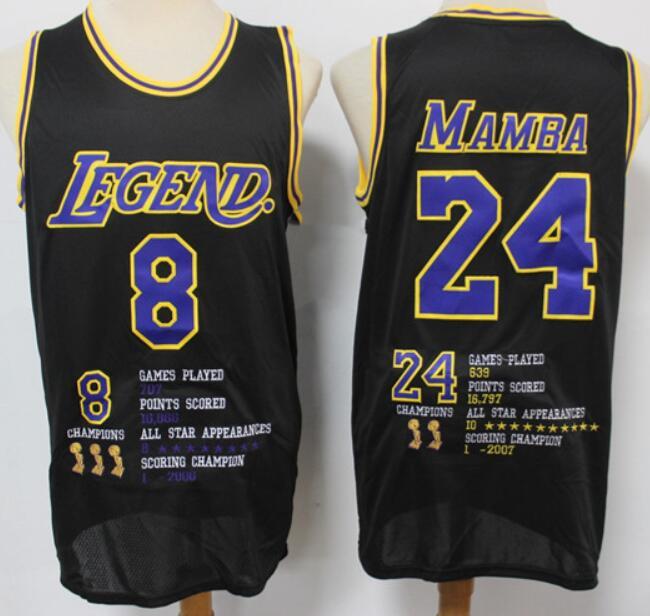 Men's Los Angeles Lakers #8 #24 Kobe Bryant Mamba Black Commerative Nike Swingman Fashion Jersey