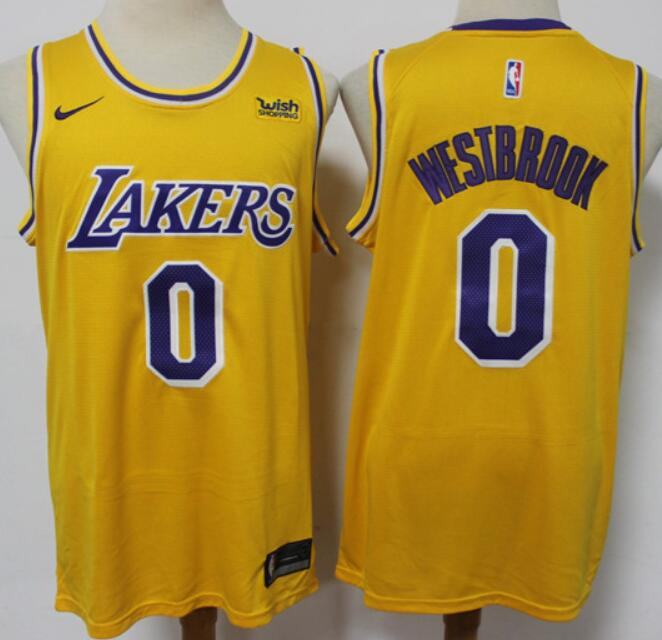 Men's Los Angeles Lakers #0 Russell Westbrook 2021 Trade Gold Icon Edition Stitched Nike Jersey
