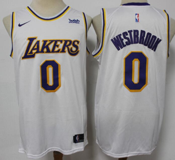 Men's Los Angeles Lakers #0 Russell Westbrook 2021 Trade White Icon Edition Stitched Nike Jersey