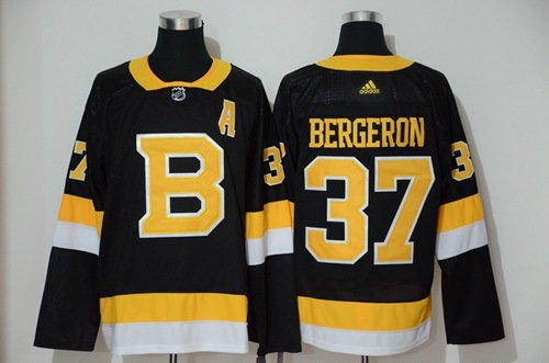 Men's Boston Bruins #37 Patrice Bergeron Black Throwback Adidas Stitched Hockey Jersey