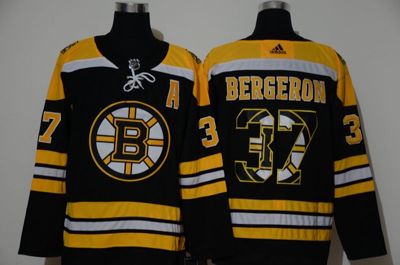 Men's Boston Bruins #37 Patrice Bergeron Black With Team Logo Adidas Stitched NHL Jersey