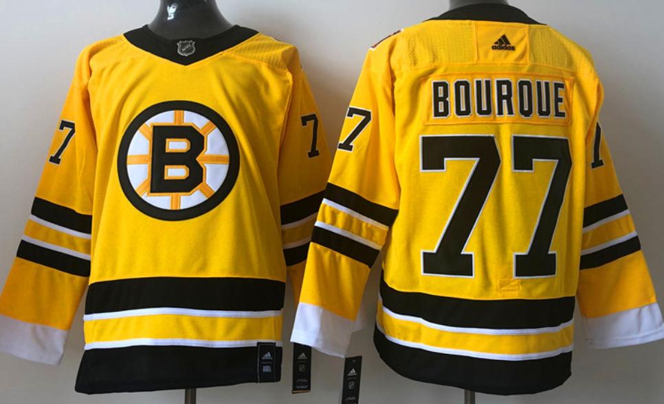 Men's Boston Bruins #77 Ray Bourque Yellow 2021 Reverse Retro Alternate Adidas Stitched NHL Jersey