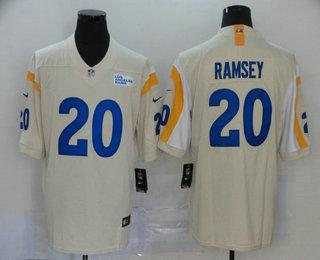 Men's Los Angeles Rams #20 Jalen Ramsey Cream Bone 2020 New Vapor Untouchable Stitched NFL Nike Limited Jersey