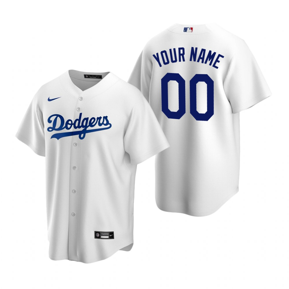Men's Los Angeles Dodgers Custom Nike White Stitched MLB Cool Base Home Jersey