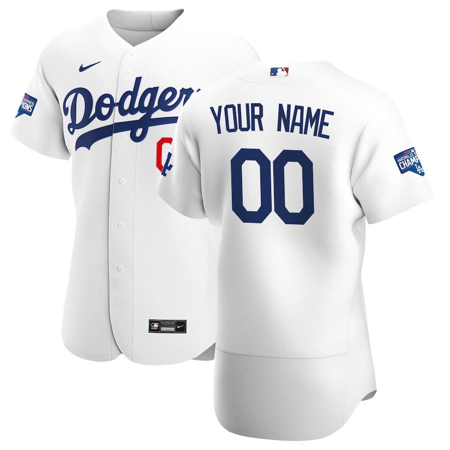 Men's Los Angeles Dodgers Custom White Home Nike Flex Base 2020 World Series Champions Stitched MLB Baseball Jersey