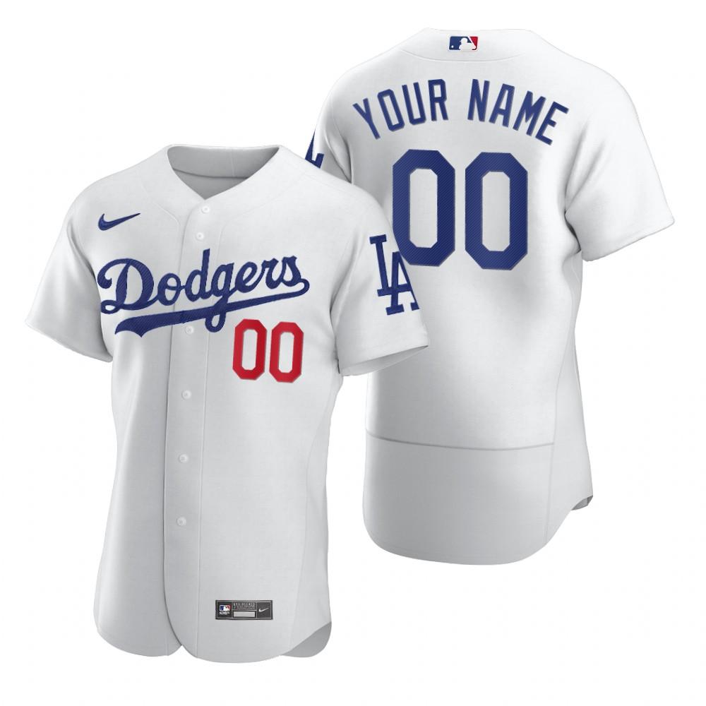 Men's Los Angeles Dodgers Custom White Home Nike Flex Base Stitched MLB Baseball Jersey