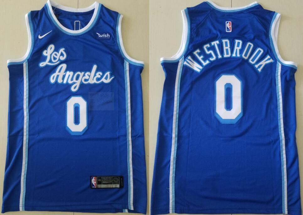 Men's Los Angeles Lakers #0 Russell Westbrook Blue Classic Edition 2021 Stitched NBA Swingman Jersey