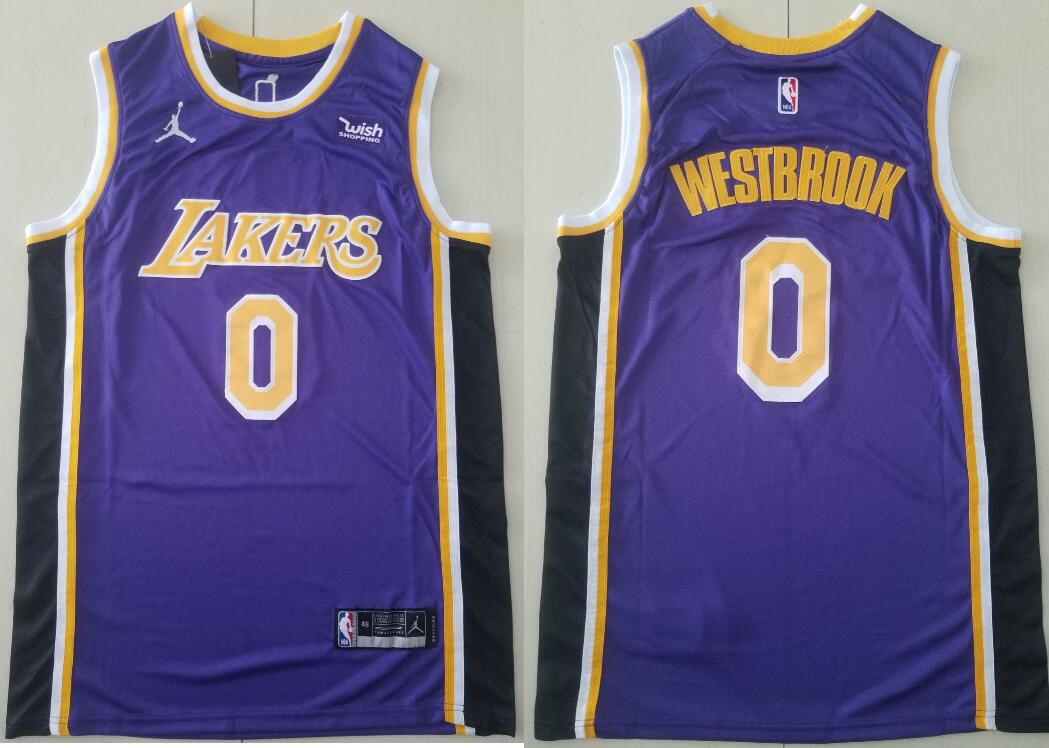 Men's Los Angeles Lakers #0 Russell Westbrook Statement Edition Purple 2021 Stitched NBA Swingman Jersey