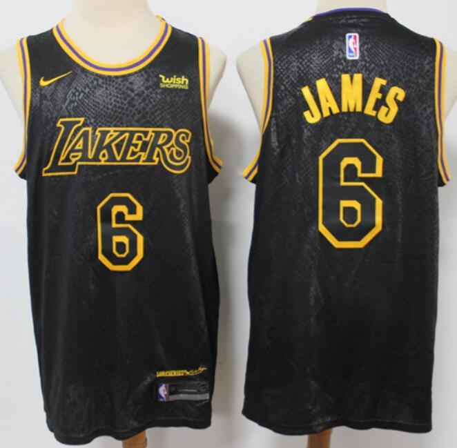Men's Los Angeles Lakers #6 Lebron James Black City Edition Stitched NBA Swingman Jersey