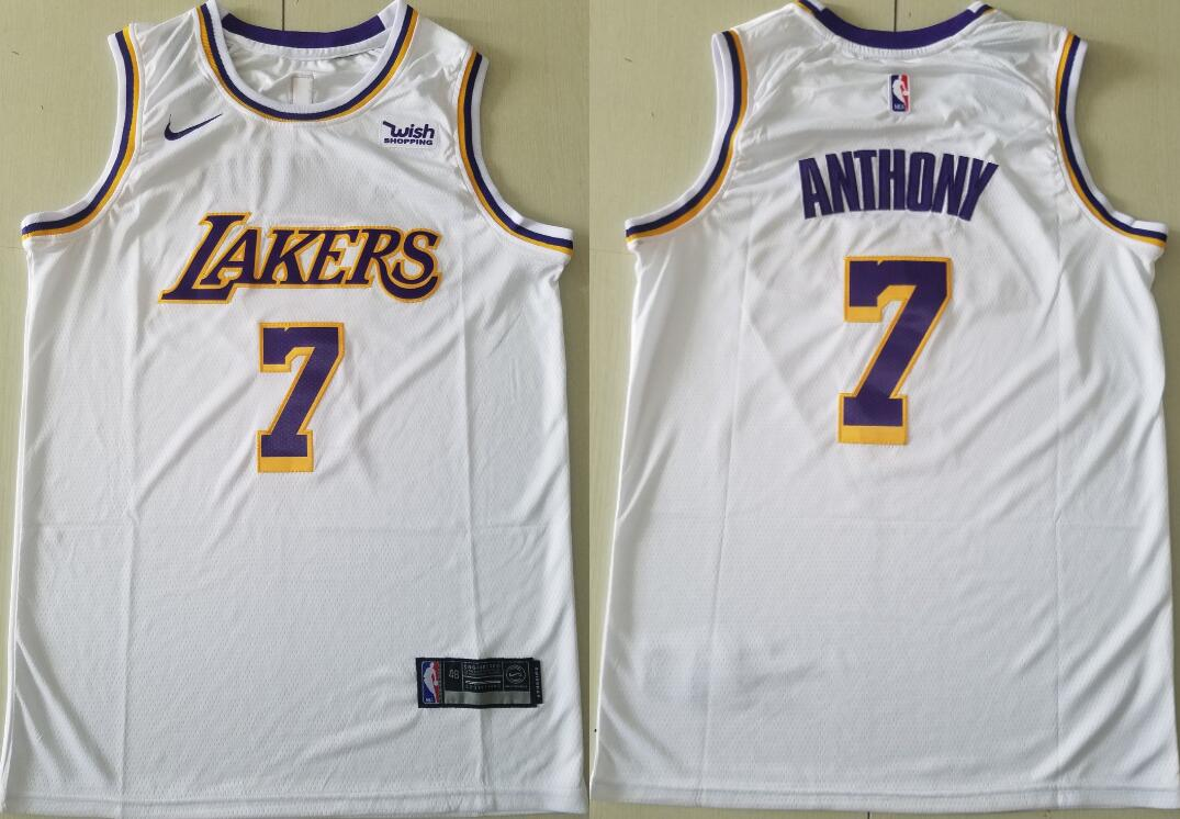 Men's Los Angeles Lakers #7 Carmelo Anthony Association Edition White 2021 Stitched NBA Swingman Jersey
