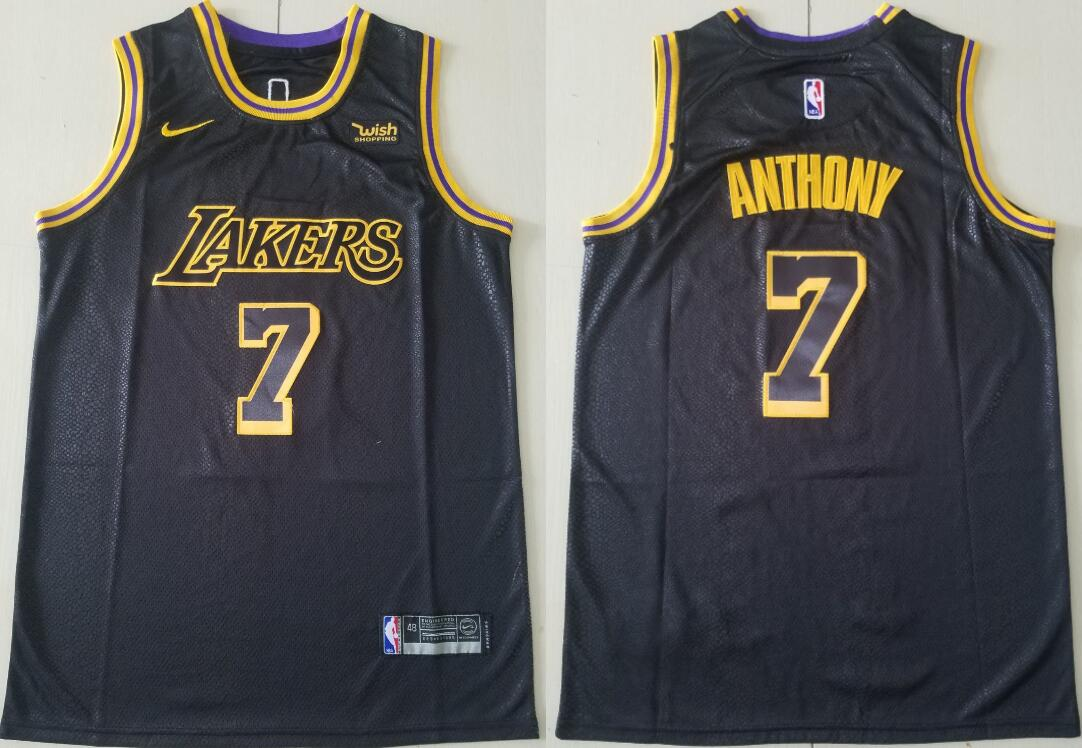 Men's Los Angeles Lakers #7 Carmelo Anthony Black City Edition Stitched NBA Swingman Jersey
