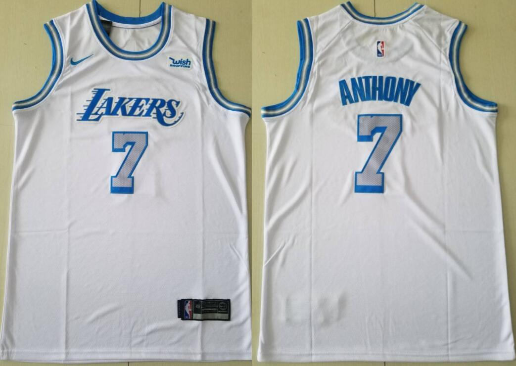 Men's Los Angeles Lakers #7 Carmelo Anthony City Edition White 2021 Stitched NBA Swingman Jersey