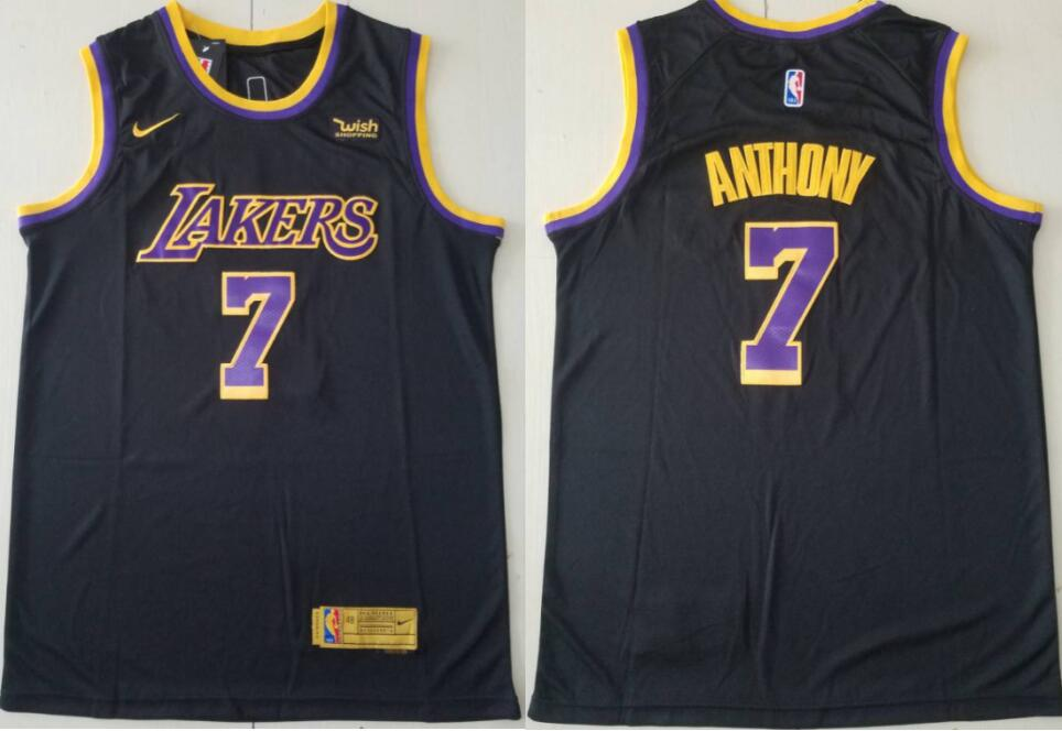 Men's Los Angeles Lakers #7 Carmelo Anthony Mamba Earned Black 2021 Stitched NBA Swingman Jersey