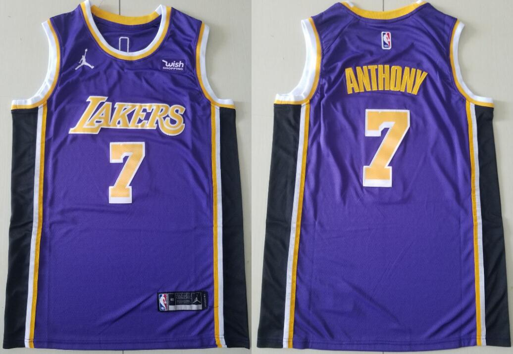 Men's Los Angeles Lakers #7 Carmelo Anthony Statement Edition Purple 2021 Stitched NBA Swingman Jersey
