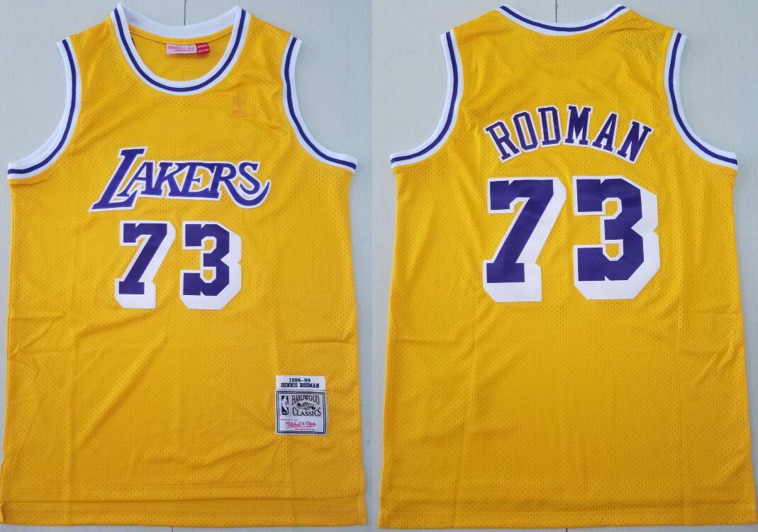 Men's Los Angeles Lakers #73 Dennis Rodman Yellow 1998-99 Hardwood Classics Mesh Throwback NBA Swingman Jersey