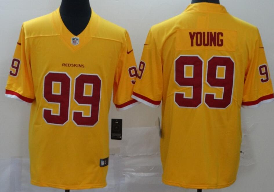 Men's Washington Redskins #99 Chase Young Gold 2020 Color Rush Stitched NFL Nike Limited Jersey