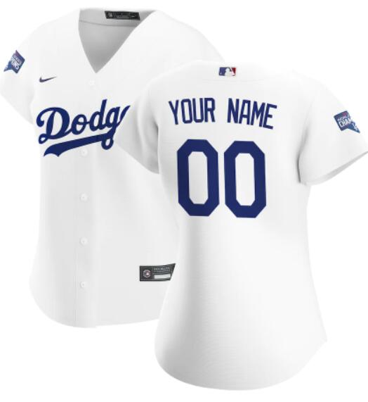 Women's Los Angeles Dodgers Custom White Home Nike Cool Base 2020 World Series Champions Stitched MLB Baseball Jersey